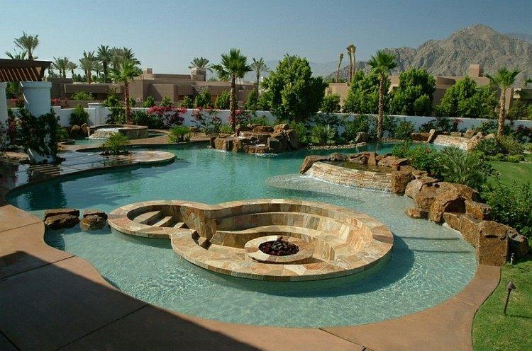 exteriores piscina moderno elegante piedras