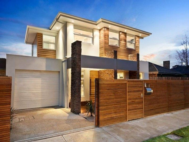 fachada moderna listones madera