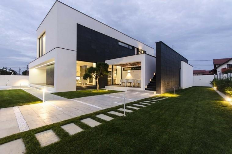 Fachadas modernas de estilo contempor neo for Modern black and white house decor