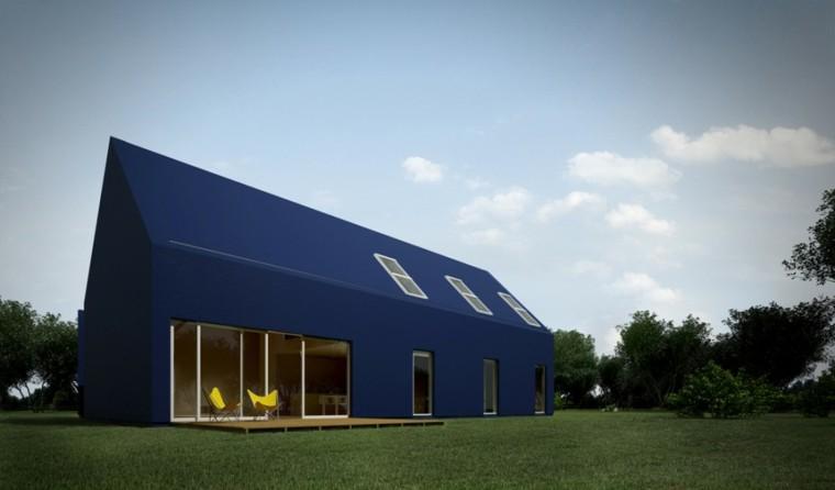 Fachadas modernas de estilo contempor neo - Casas de color azul ...