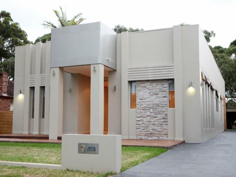 fachada edificio color gris