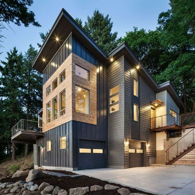 fachada lujosa casa rústica