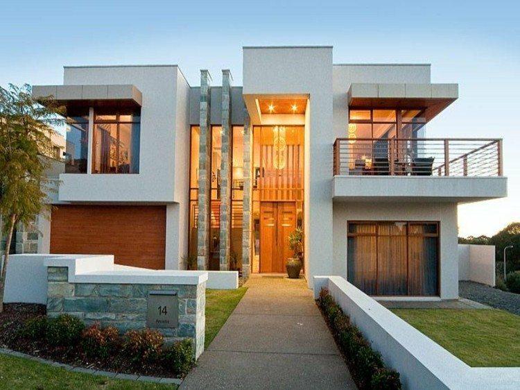 fachadas modernas entrada diseño madera