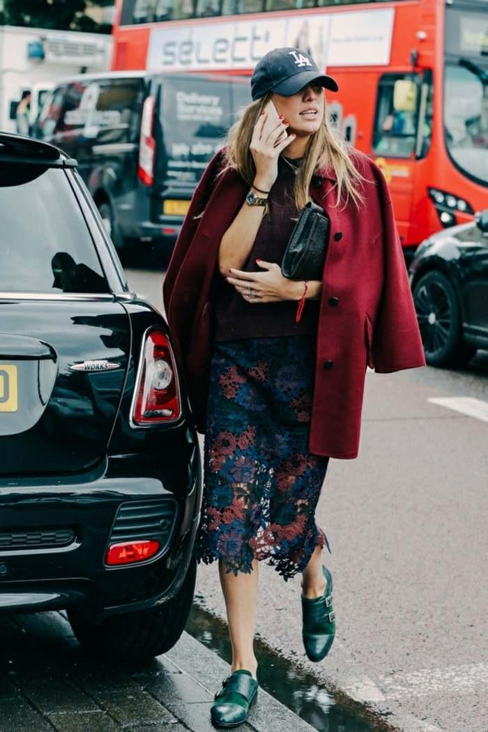 falda preciosa abrigo invierno rojo ideas