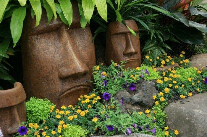 figuras caras decorar jardin moderno ideas