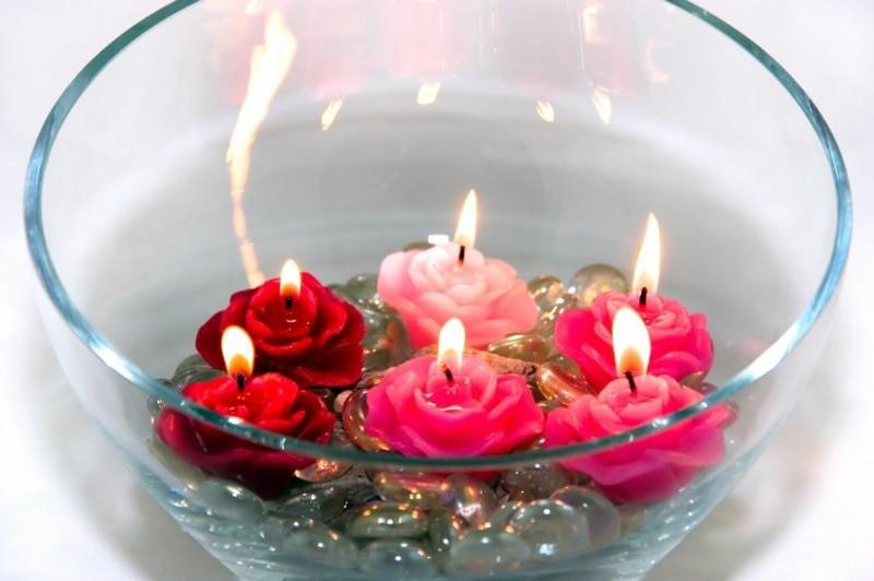 flores bol vidrio velas colores