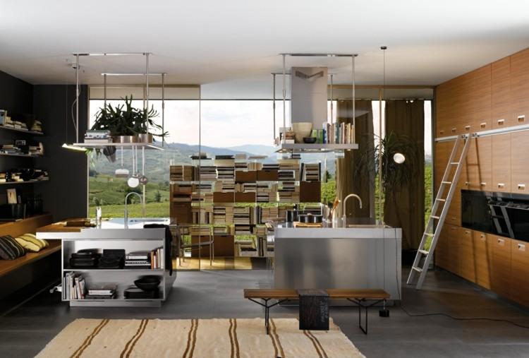 fotos cocinas decorado metales escalera madera