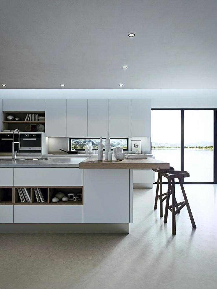 fotos cocinas diseños estilos taburetes blanco