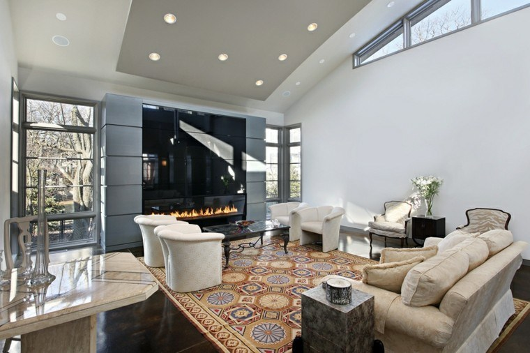 fotos salones chimenea moderna alfombra ideas