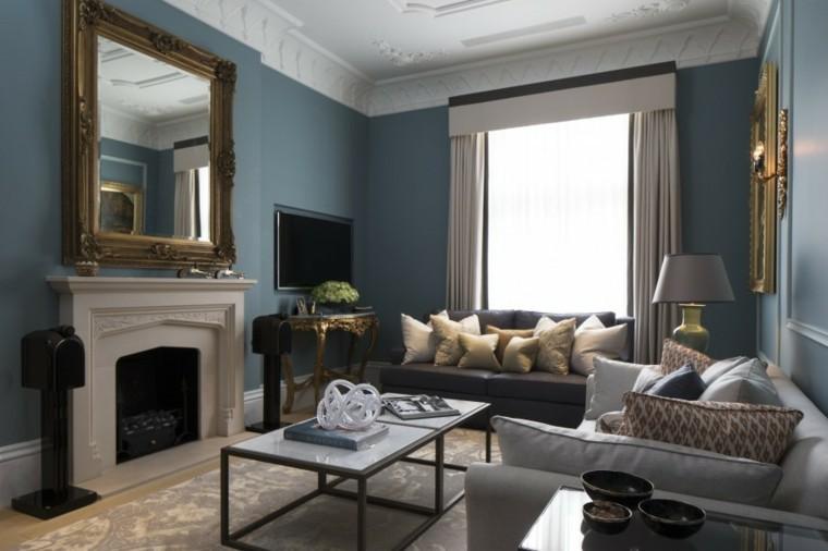fotos salones pared azul ideas