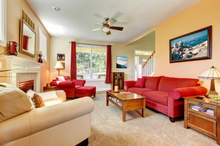 fotos salones sofa rojo mesa madera ideas