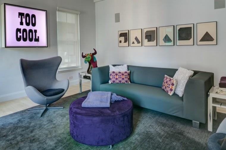 fotos salones taburete color purpura ideas