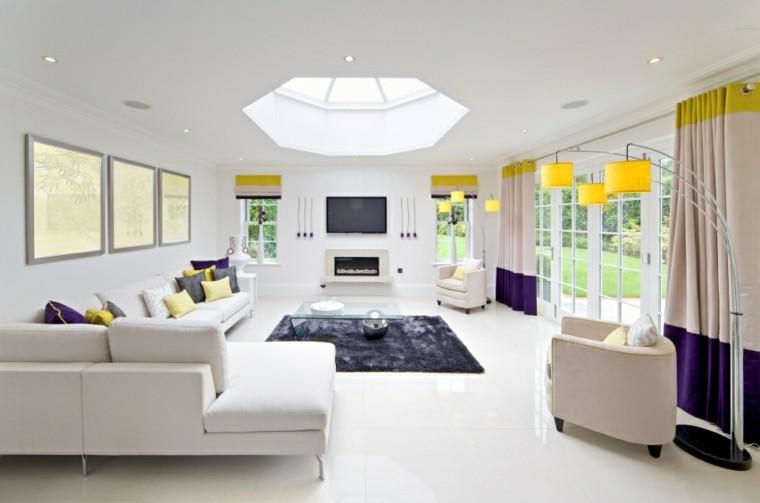 fotos salones toques purpura amarillo ideas