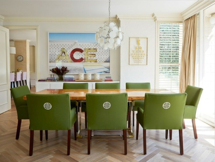fotos comedor mesa madera sillas verdes ideas