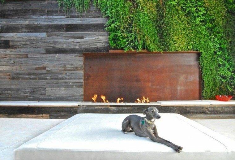 fuego acero corten estilos jardines perro
