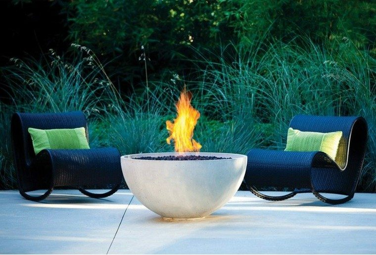 fuego confortables ideas estilos patio rocas