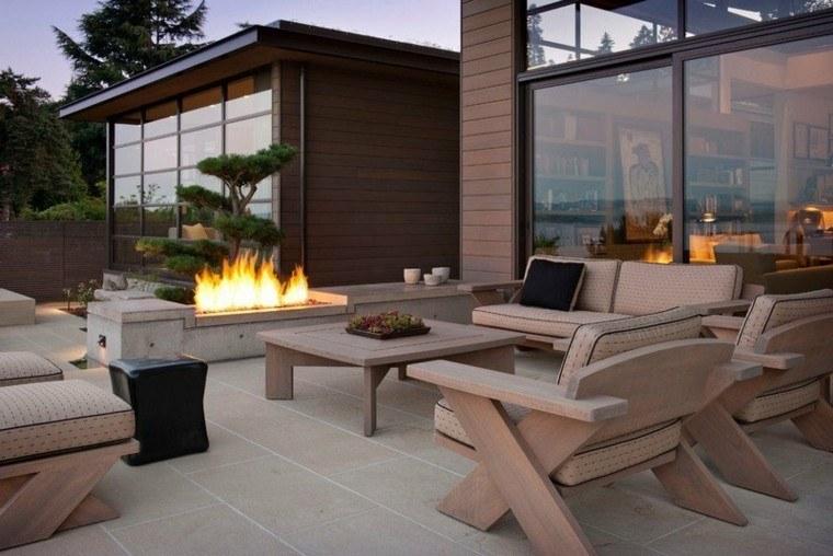 fuego exteriores ideas estilos cuero plantas