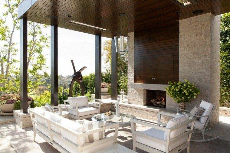 fuego exteriores ideas estilos marron jardines