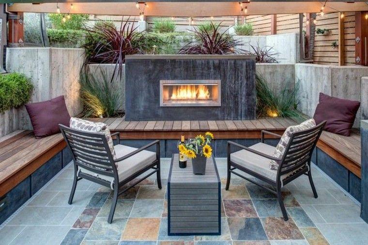 Fuego para espacios exteriores, 50 ideas modernas.