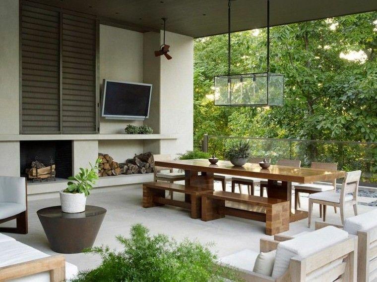 fuego terrazas ideas estilos marron plantas