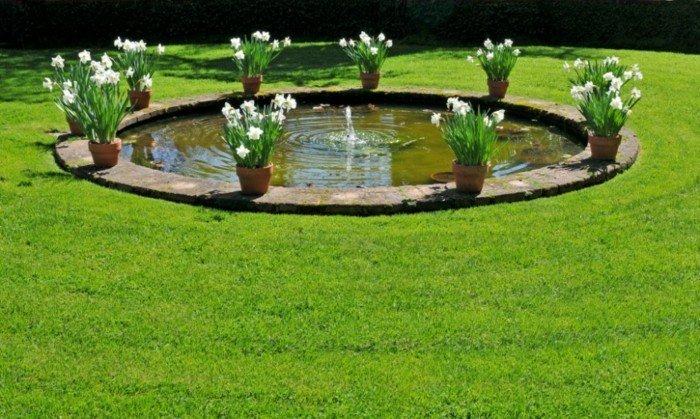 fuenta jardin amplio cesped macetas flores ideas