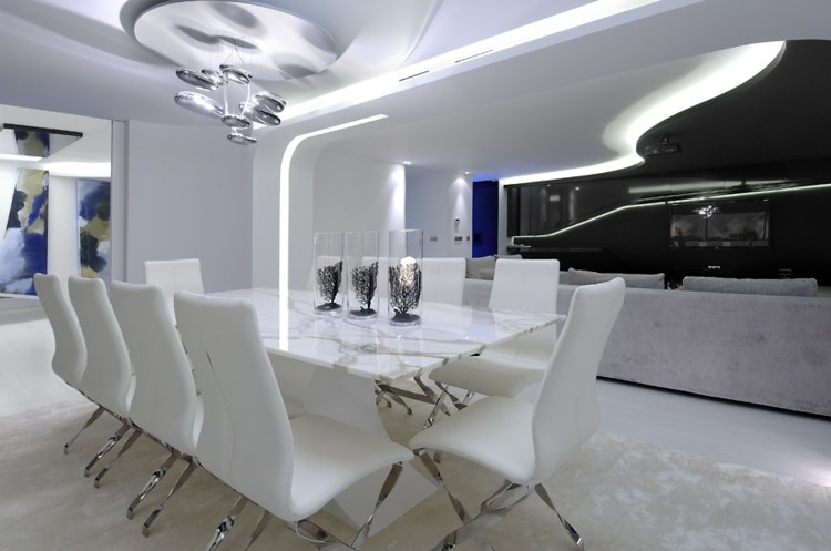 futurista negro salones moderno led luces