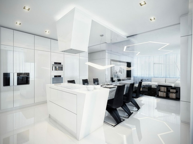 futurista negro salones moderno led