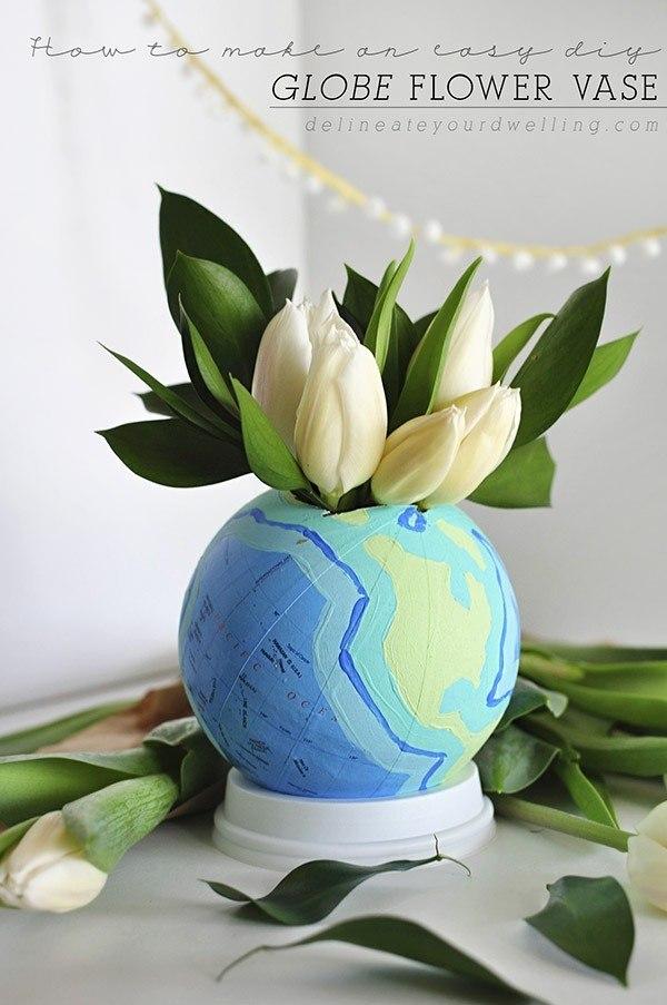 globo mundo macetero planta flores