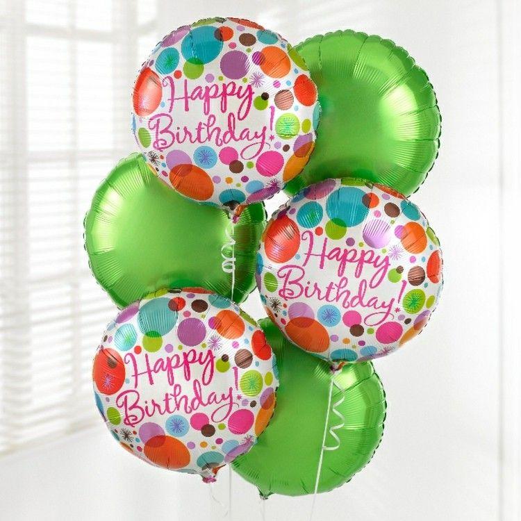globos de cumpleaños verde rosa letras