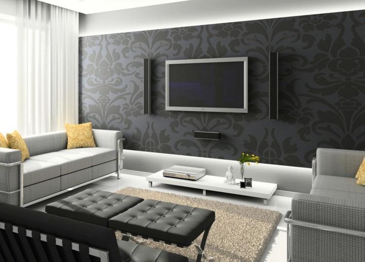 grises estilos moderno casas salon blanco