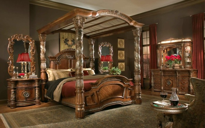habitacion sistema madera torneado marrones