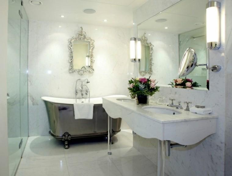 habitacion vintage banera espejo precioso ideas
