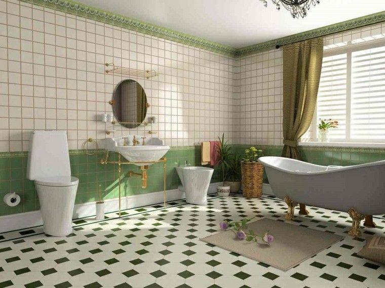 habitacion vintage bano losas verde blanco ideas