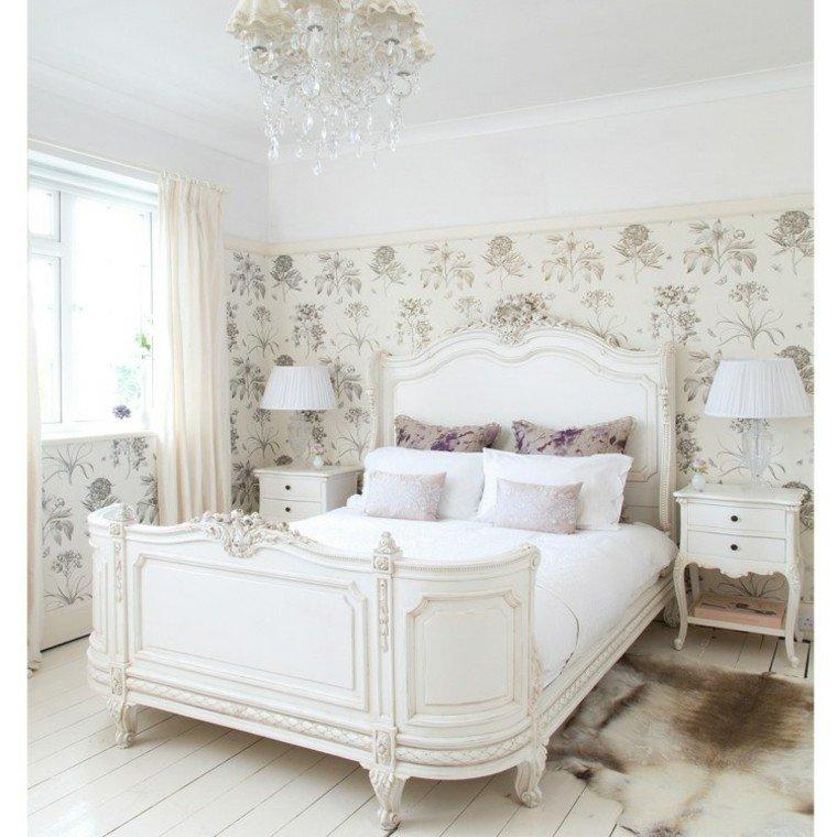 habitacion vintage cama papel pared ideas