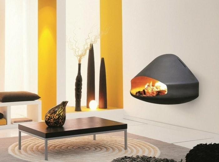 ideas chimeneas amarillo listas alfombra