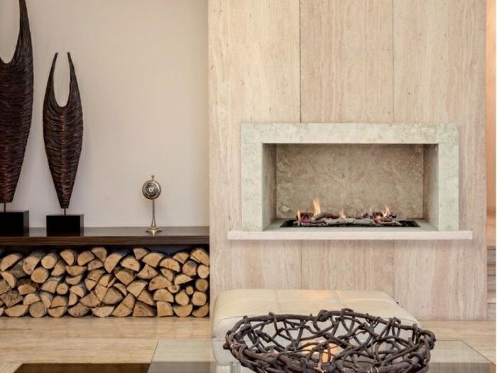 ideas chimeneas decoracion almacenamiento rocas