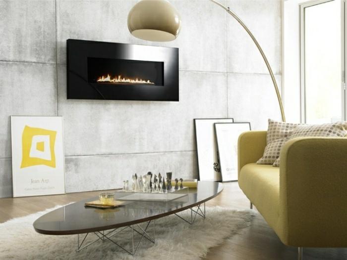 ideas chimeneas decoracion lamparas amarillo