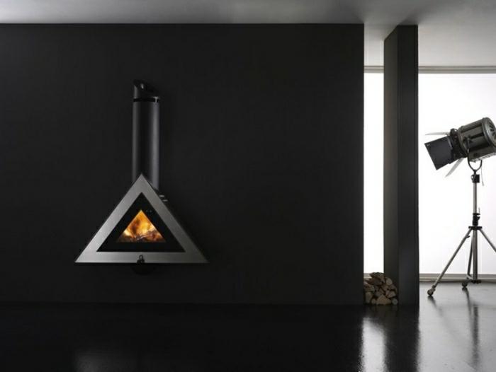 ideas chimeneas decoracion oscuro geometrica
