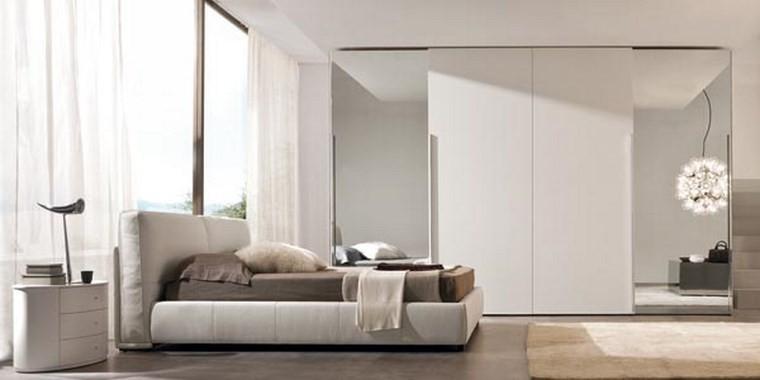 ideas de decoracion dormitorio armario cama blanco moderno