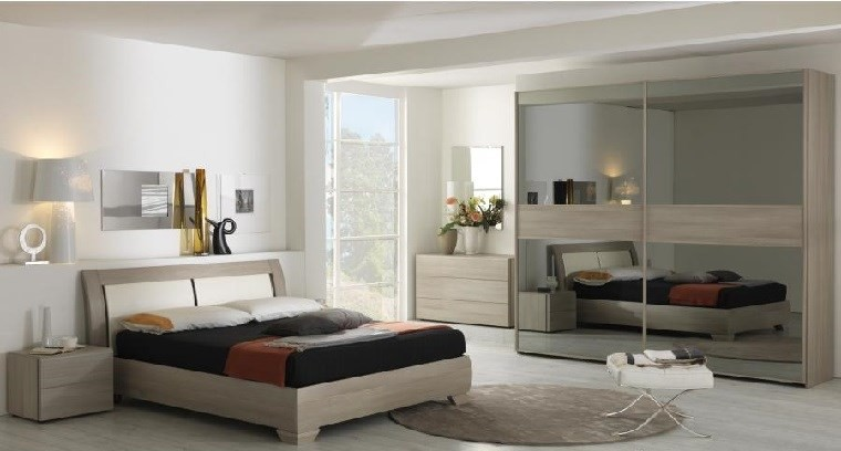 ideas de decoracion dormitorio armario puertas espejo moderno