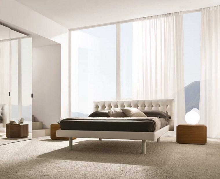 ideas de decoracion dormitorio cortinas blancas moderno