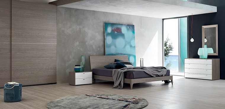 ideas de decoracion dormitorio cuadro color azul moderno