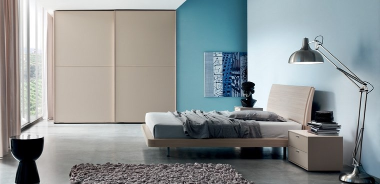 decoracion dormitorio pared color azul ideas