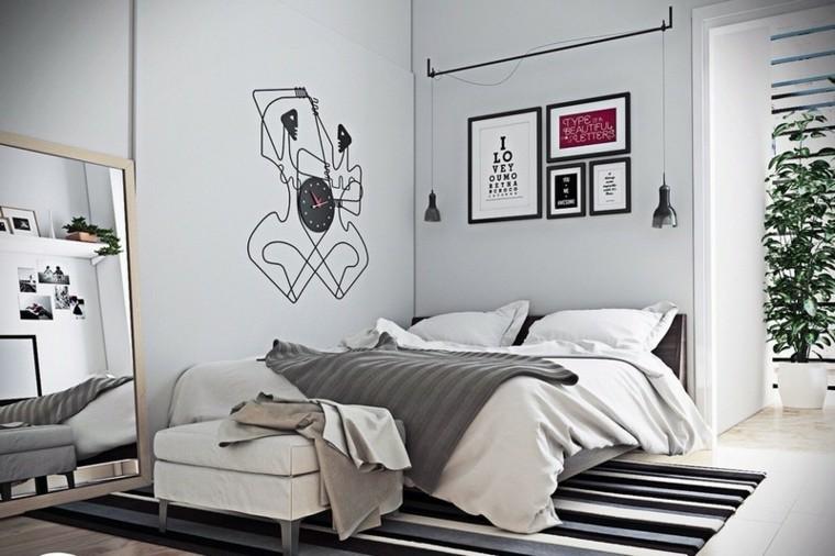decoracion dormitorio alfombra blanco negro moderno