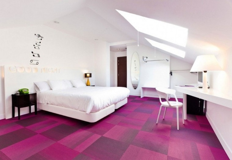 decoracion dormitorio alfombra rosa moderno