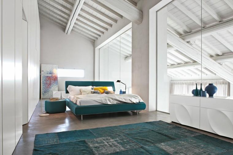 decoracion dormitorio alfombra verde moderno