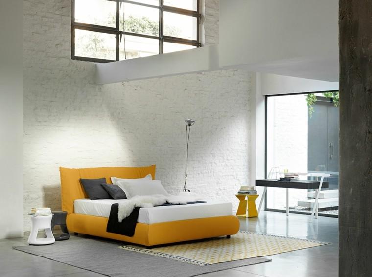 ideas decoracion dormitorio cama amarilla moderno