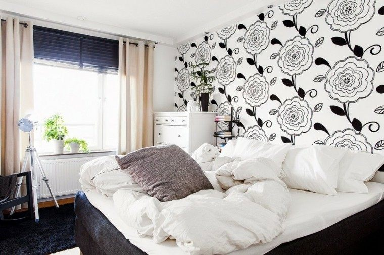 decoracion dormitorio papel pared flores ideas