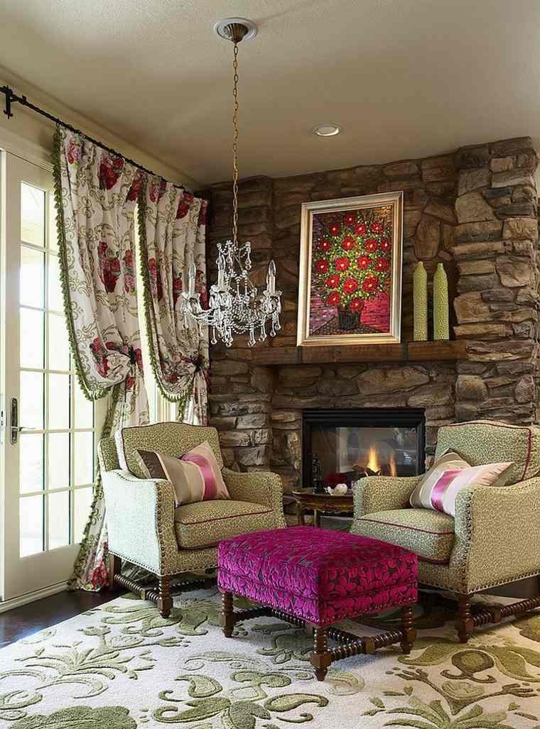 ideas decoracion salon cortinas estampa estilo