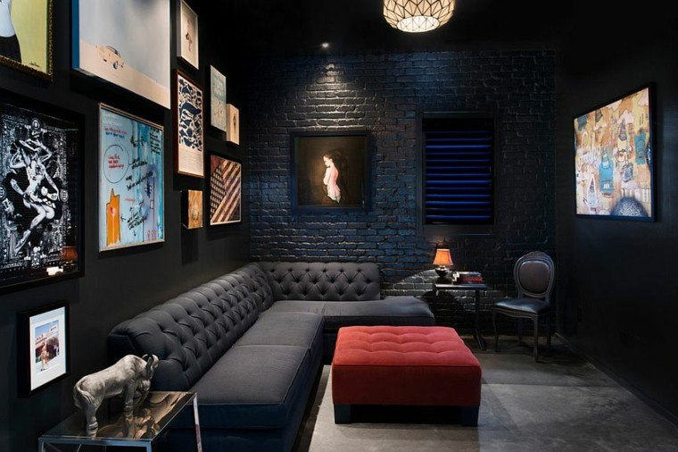 decoracion salon pared ladrillo negro estilo